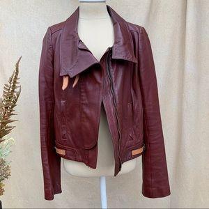 A.L.C. Runway Burgundy Leather Moto Jacket sz 10